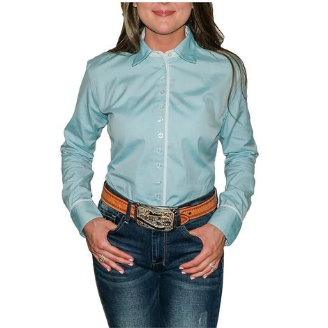 South Texas Tack Ladies Long Sleeve Pima Cotton Shirts - Pinpoint Turquoise Oxford