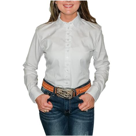 South Texas Tack Ladies Long Sleeve Pima Cotton Shirts - Pinpoint White Oxford