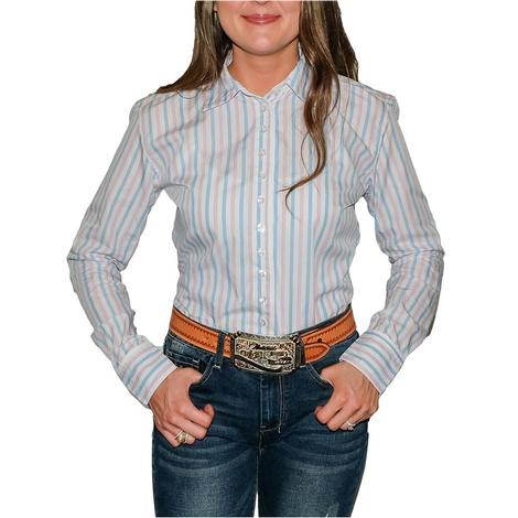 South Texas Tack Ladies Long Sleeve Pima Cotton Shirts - Pink Blue White Wide Stripes