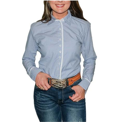STT Ladies Long Sleeve Pima Cotton Shirts - Blue Gingham
