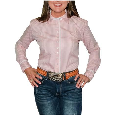 South Texas Tack Ladies Long Sleeve Pima Cotton Shirts - Pink Gingham