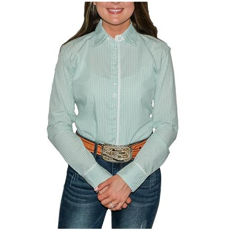 South Texas Tack Ladies Long Sleeve Pima Cotton Shirts - Seafoam Gingham