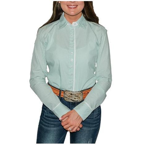 STT Ladies Long Sleeve Pima Cotton Shirts - Seafoam Gingham