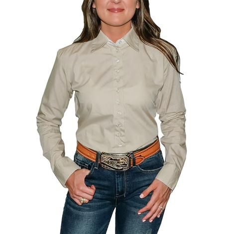 South Texas Tack Ladies Long Sleeve Pima Cotton Shirts - Beige Broadcloth