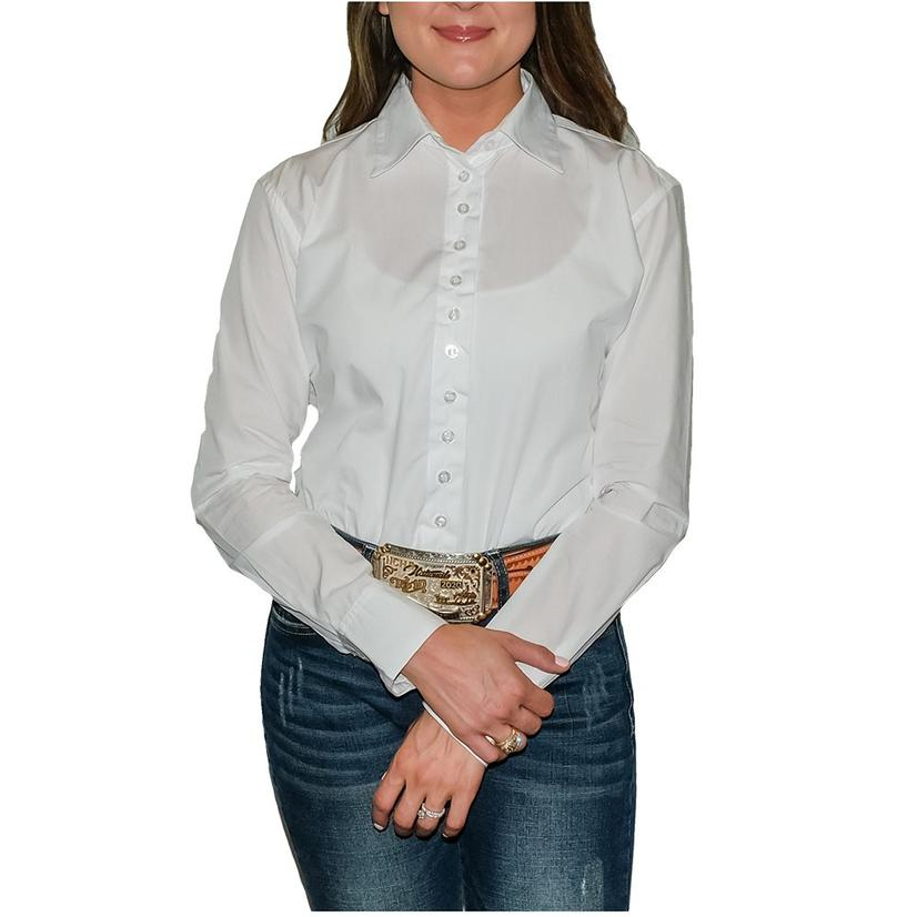 Stt Ladies Long Sleeve Pima Cotton Shirts - White 45 Broadcloth