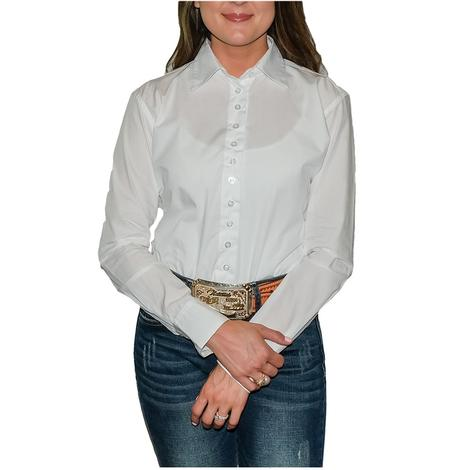 STT Ladies Long Sleeve Pima Cotton Shirts - White 45 Broadcloth