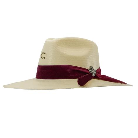 Charlie 1 Horse Truth Natural Straw Hat with Burgundy Ribbon