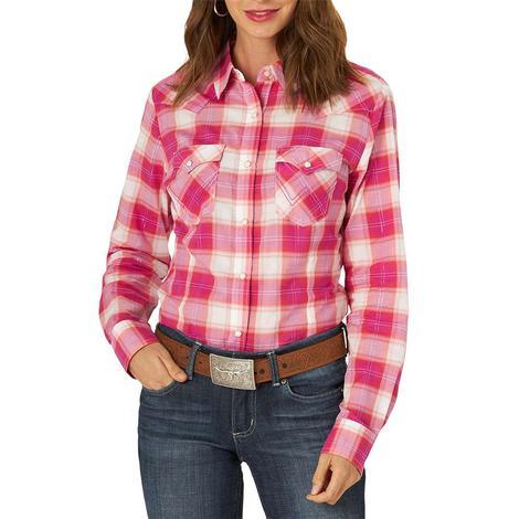 Wrangler Retro Punchy Plaid Pink Long Sleeve Women's Shirt