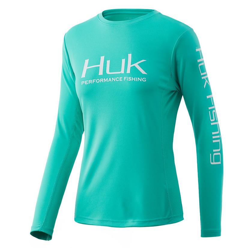 Huk Icon Long Sleeve Electric Green Women's Shirt