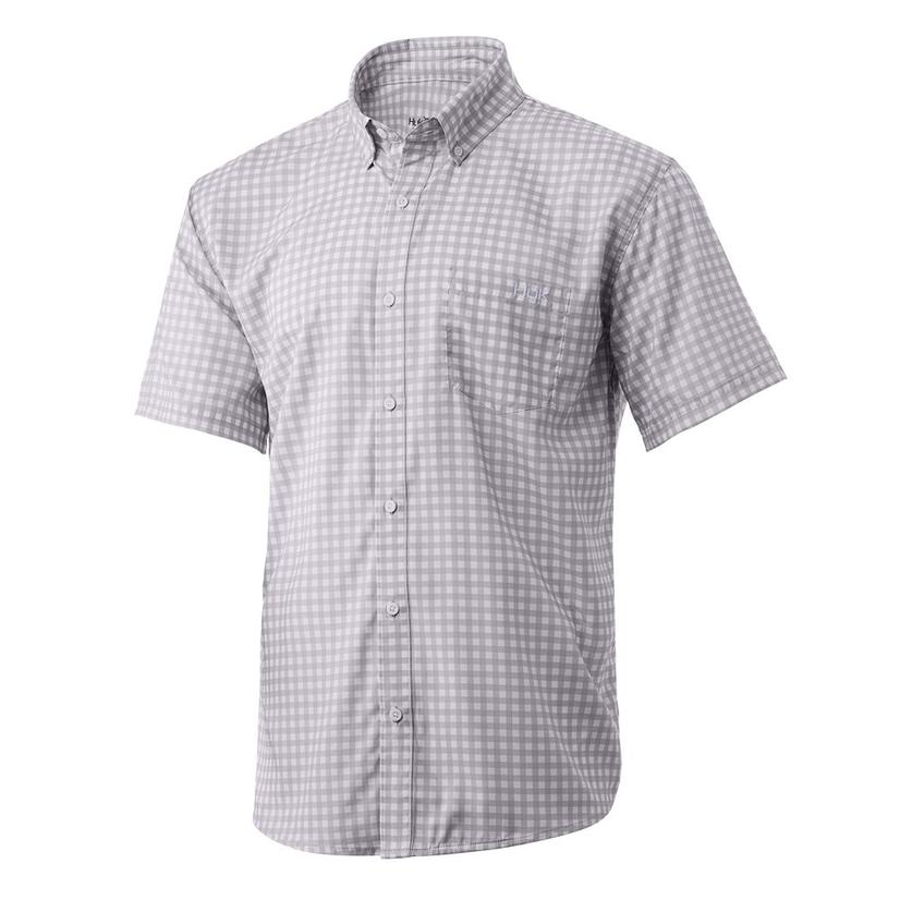 Huk Teaser Gingham Lavender Blue Men's Short Sleeve Buttondown Shirt