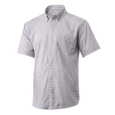 Huk Teaser Gingham Lavender Blue Men's Short Sleeve Buttondown Shirt