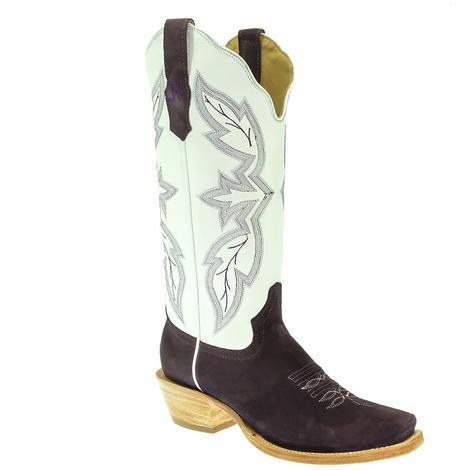 R. Watson Plum and White Roughout Boot with Cutter Toe for Women