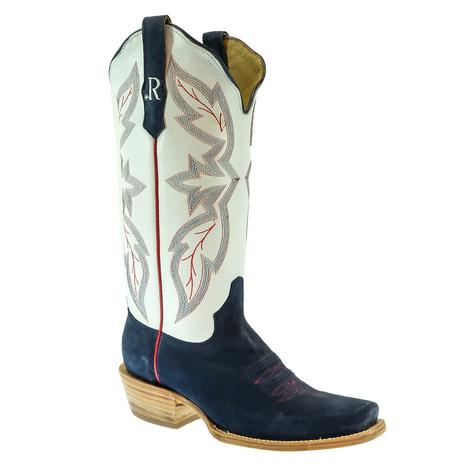 R. Watson Navy and White Roughout Cutter Toe Women's Boots