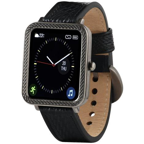 Wrangler Smart Watch Antique Silver Tone Rope Bezel with Black Basket Weave Leather Strap