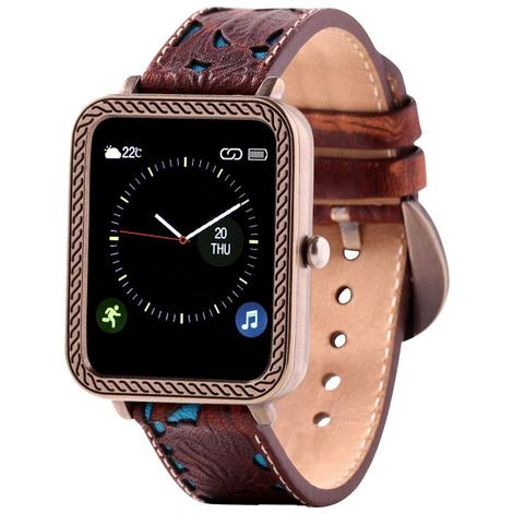 Wrangler Smart Watch Antique Gold Tone Rope Bezel with Brown Floral and Turquoise Leather Strap