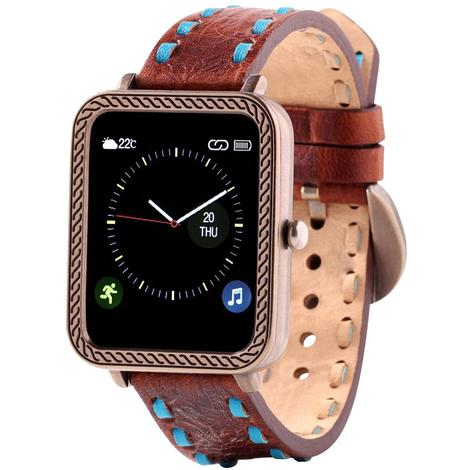 Wrangler Smart Watch Antique Gold Tone Rope Bezel with Brown Turquoise Buckstitch Leather Strap