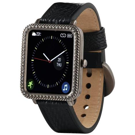 Wrangler Smart Watch Antique Silver Tone Rope Bezel with Black Basketweave Leather Strap