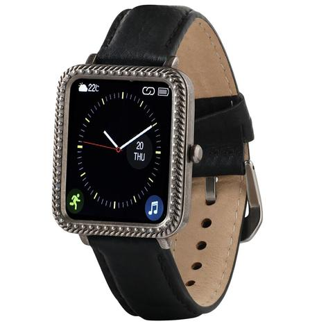 Wrangler Smart Watch Antique Silver Tone Rope Bezel with Black Pebble Grain Leather Strap
