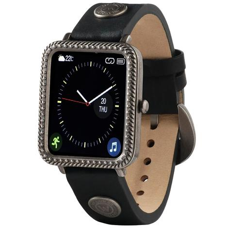 Wrangler Smart Watch Antique Silver Tone Rope Bezel with Black Rivet Leather Strap