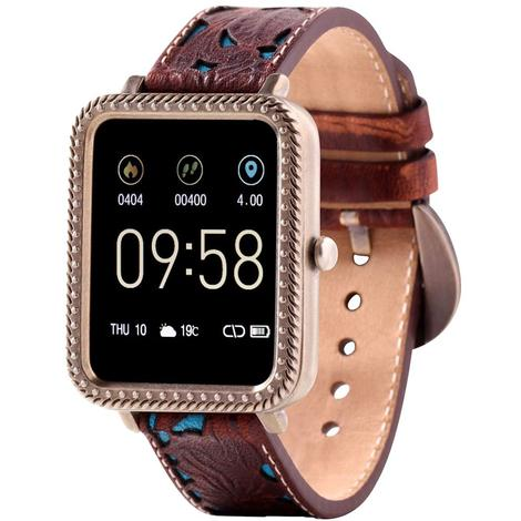 Wrangler Smart Watch Antique Gold Tone Rope Nailhead Bezel with Brown Floral and Turquoise Leather Strap