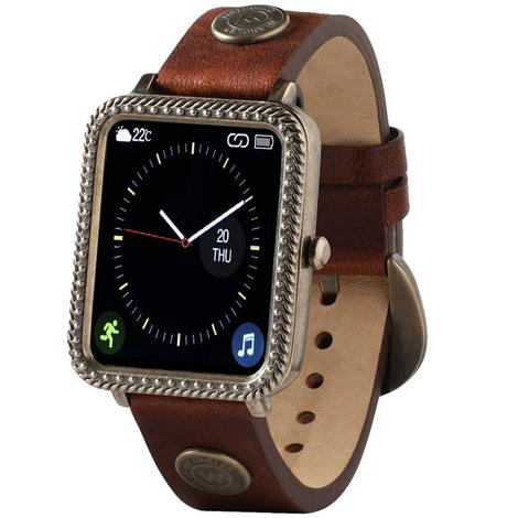 Wrangler Smart Watch Antique Gold Tone Rope Nailhead Bezel with Brown Rivet Leather Strap