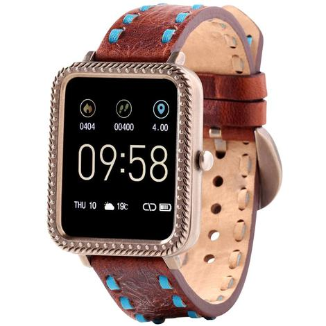 Wrangler Smart Watch Antique Gold Tone Rope Nailhead Bezel with Brown Turquoise Buckstitch Leather Strap