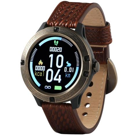 Wrangler Smart Watch Antique Gold Tone Bezel with Brown Basketweave Leather Strap