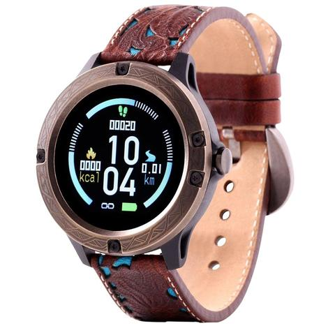 Wrangler Smart Watch Antique Gold Tone Bezel with Brown Floral and Turquoise Leather Strap