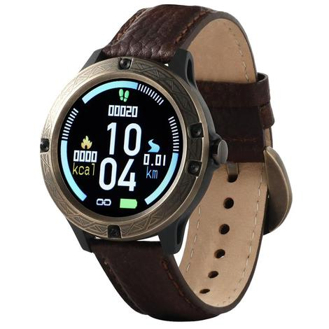 Wrangler Smart Watch Antique Gold Tone Bezel with Brown Pebble Grain Leather Strap