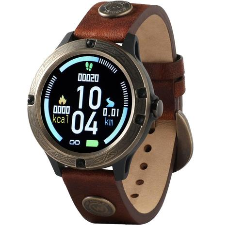 Wrangler Smart Watch Antique Gold Tone Bezel with Brown Rivets Leather Strap