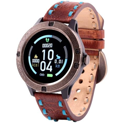 Wrangler Smart Watch Antique Gold Tone Bezel with Brown Turquoise Buckstitch Leather Strap
