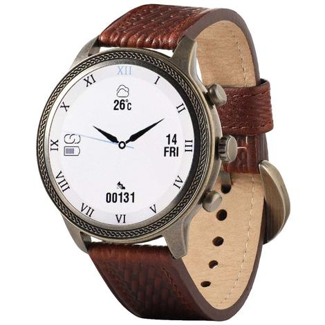 Wrangler Smart Watch Antique Gold Tone Rope Bezel with Brown Basketweave Leather Strap
