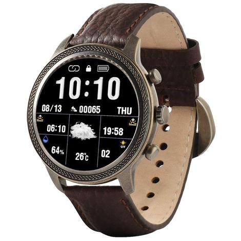 Wrangler Smart Watch Antique Gold Tone Rope Bezel with Brown Pebble Grain Leather Strap