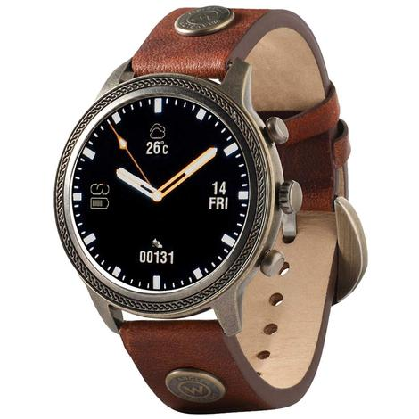Wrangler Smart Watch Antique Gold Tone Rope Bezel with Brown Rivet Leather Strap