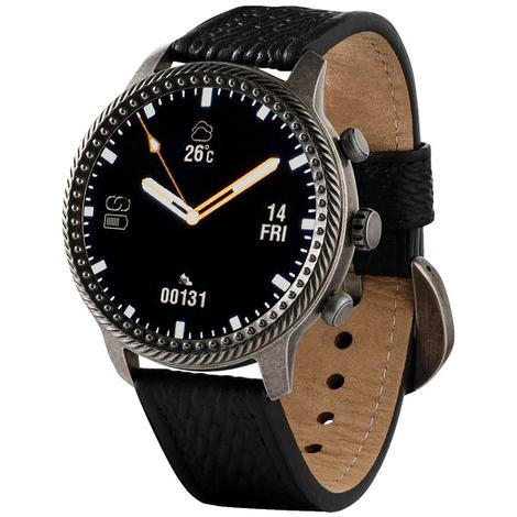 Wrangler Smart Watch Antique Silver Tone Rope Nailhead Bezel with Black Basketweave Leather Strap