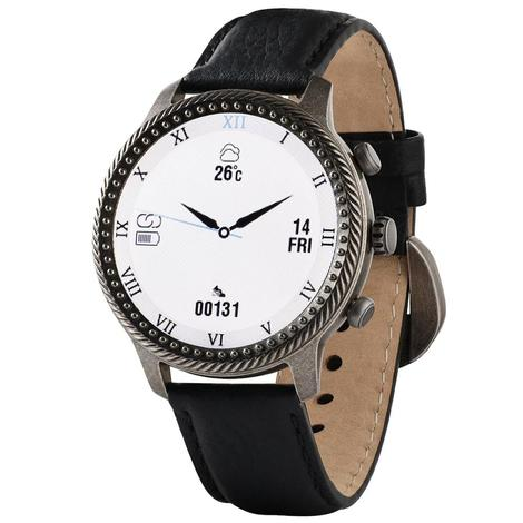Wrangler Smart Watch Antique Silver Tone Rope Nailhead Bezel with Black Pebble Grain Leather Strap