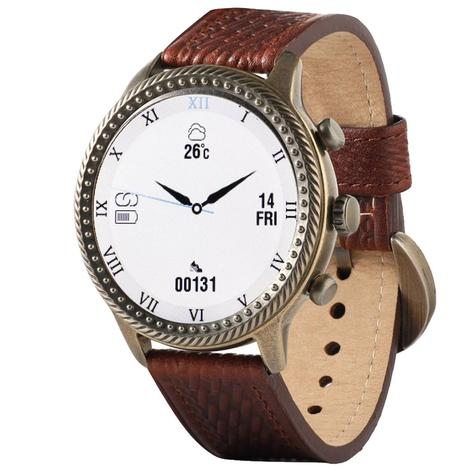 Wrangler Smart Watch Antique Gold Tone Rope Nailhead Bezel with Brown Basketweave Leather Strap