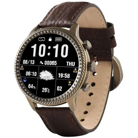 Wrangler Smart Watch Antique Gold Tone Rope Nailhead Bezel with Brown Pebble Grain Leather Strap