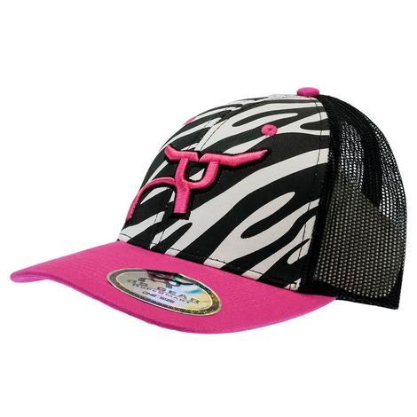 Ropesmart Black and Pink Zebra Front Meshback Cap