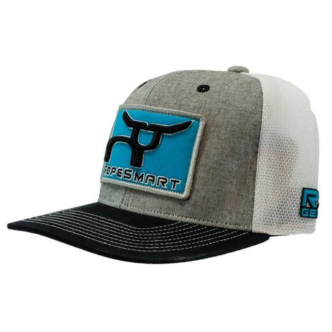 Ropesmart Heather Gray and White with Turquoise Patch Meshback Cap