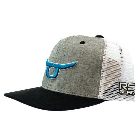 Ropesmart Heather Grey with Teal Steer Black and White Meshback Cap