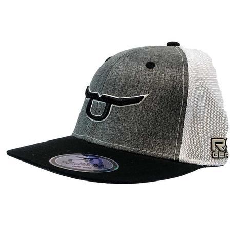 Ropesmart Fitted Heathered Grey withBlack Logo White Meshback Cap