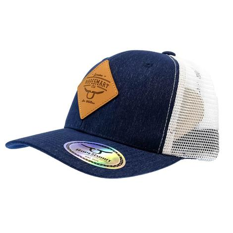 Ropesmart Navy Blue and White with Diamond Leather Patch Cap