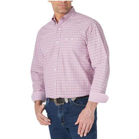 Wrangler George Strait Fuchsia Plaid Long Sleeve Buttondown Men's Shirt