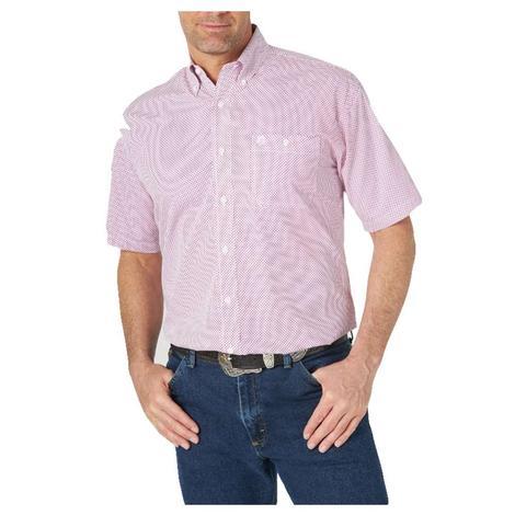 Wrangler George Strait White Fuchsia Print Buttondown Short Sleeve Men's Shirt