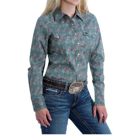 Cinch Turquoise Multi Print Western Yoke Long Sleeve Snap Women's Shirt