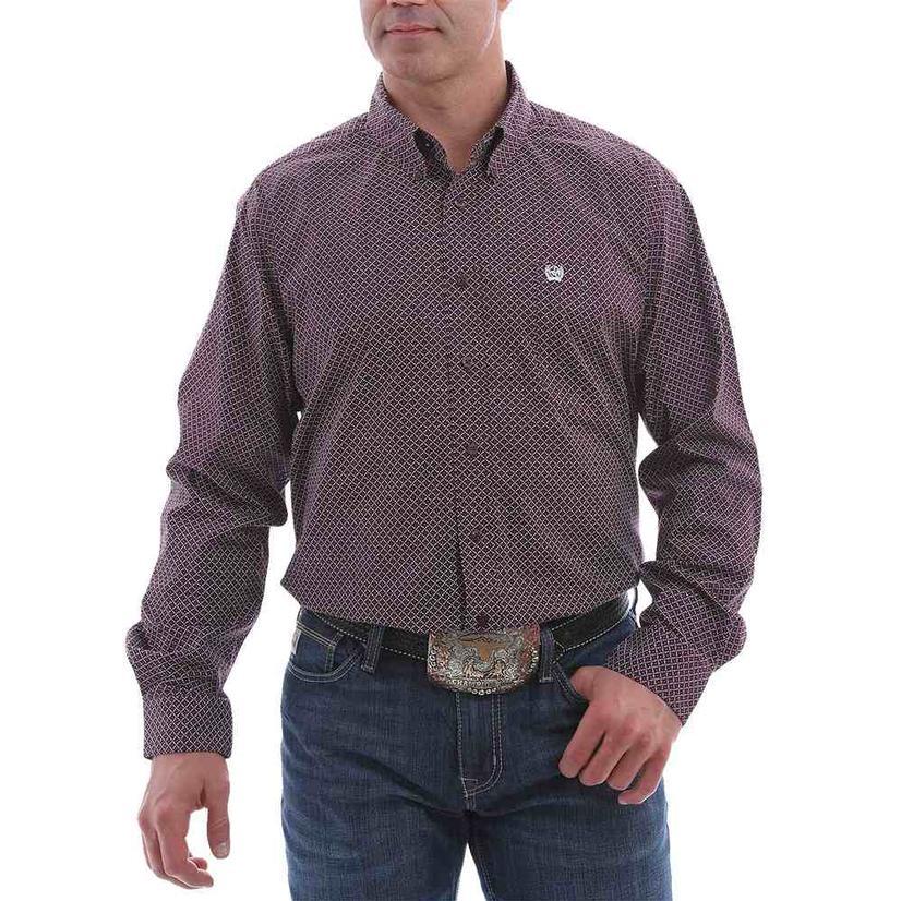 Cinch Purple Print Stretch Long Sleeve Buttondown Men's Shirt