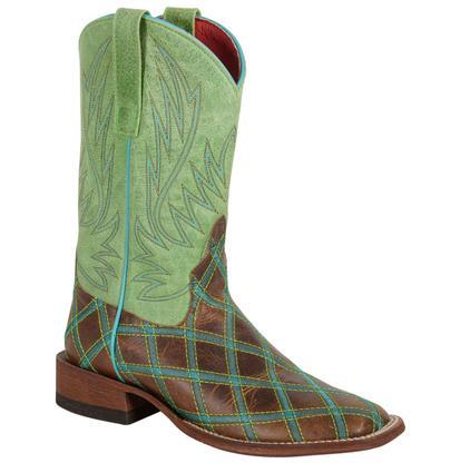 Macie Bean Women's Lime Green Plaid Square Toe Boots