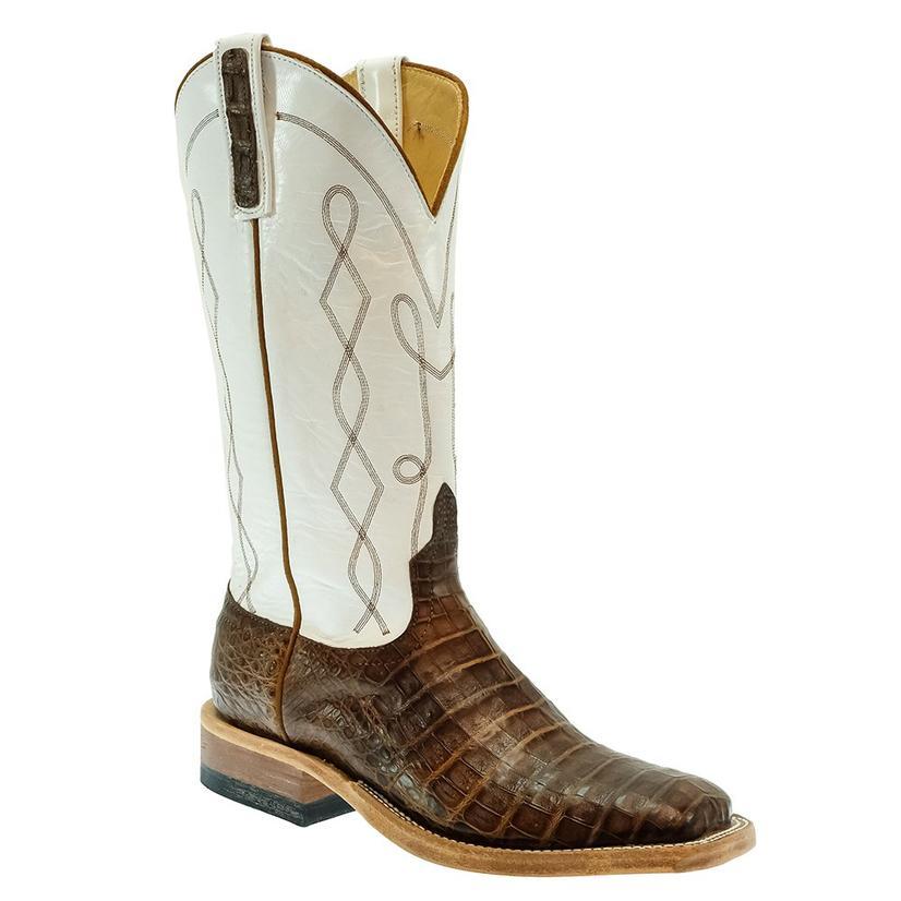 Anderson Bean Post Oak Caiman Belly White Kidskin Top Men's Boot
