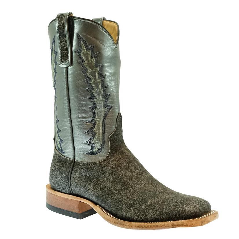 Anderson Bean Grey Safari Cape Buffalo With Gunmetal Kidskin Top Men's Boots